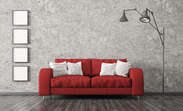 Interior with red sofa against of concrete wall 3d render. Modern interior of living room with red sofa, floor lamp against of concrete wall 3d render royalty free illustration