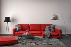 Interior with red sofa. 3d illustration Stock Images
