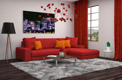 Interior with red sofa. 3d illustration Royalty Free Stock Image