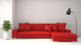 Interior with red sofa. 3d illustration Stock Photos
