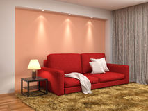 Interior with red sofa. 3d illustration Stock Photography
