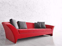 Interior with red sofa Stock Photo