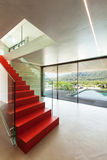 Interior, red staircase Royalty Free Stock Photography