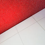 Interior with red tiled wall Royalty Free Stock Photos