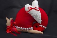 Interior red toy tilde ulitkas handmade heart Royalty Free Stock Image