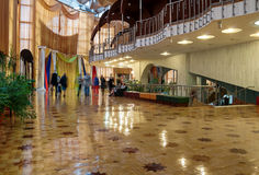 Interior of Regional Drama Theater named after Fyodor Dostoevsky with visitors walking around, Veliky Novgorod, Russia Royalty Free Stock Photo