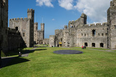 The interior of the remains of Caernarfon Castle Stock Photography