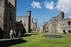 The interior of the remains of Caernarfon Castle Stock Photos