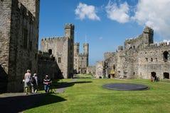 The interior of the remains of Caernarfon Castle Stock Photos