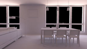 Interior render of a dining room Royalty Free Stock Photo
