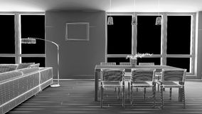 Interior render of a dining room Stock Image
