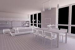 Interior render of a dining room Stock Photo