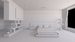 Interior rendering of a bedroom Stock Photos