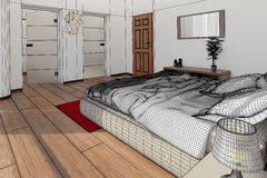 Interior rendering of a modern bedroom Stock Image