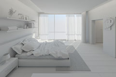 Interior rendering of a modern bedroom Royalty Free Stock Photo