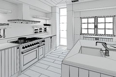 Interior rendering of a modern kitchen Royalty Free Stock Photo