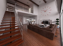 Interior rendering of a modern tiny loft Stock Photo