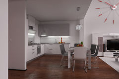 Interior rendering of a modern tiny loft Royalty Free Stock Images