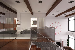 Interior rendering of a modern tiny loft Royalty Free Stock Image