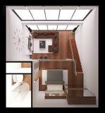 Interior rendering of a modern tiny loft Royalty Free Stock Photo