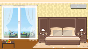 The interior of resort hotel room with outlet to sea. And furniture on the terrace. Vector illustration in flat style Stock Image