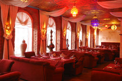 Interior of a restaurant. In red color Royalty Free Stock Image