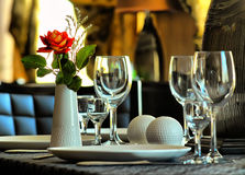 Interior of restaurant. With are served by a table and colors Stock Images