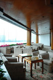 Interior of the restaurant. With large window Royalty Free Stock Photos
