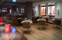 Interior of restaurant. Modern interior of restaurant with buffet Royalty Free Stock Images