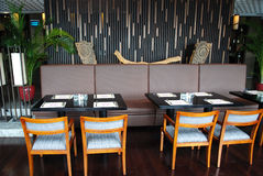Interior of the restaurant. With beatiful decoration Stock Photo