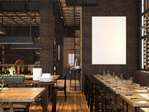 Interior of the restaurant with blank canvas. 3d rendering. Interior of the restaurant with dark brickwall and blank canvas. 3d rendering Stock Image