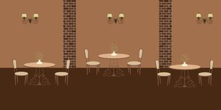 Interior of restaurant in a brown colors. There are three tables and chairs in the image. There are also decorative lamps on the wall. Vector flat illustration Stock Images
