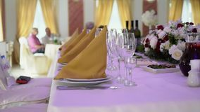 Interior of restaurant. Decorated for event stock video