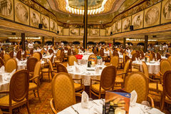 Interior of restaurant dinner hall of cruiise liner Costa Medite Stock Images