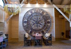 Interior of the restaurant in ethnographic style Royalty Free Stock Photography