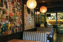 Interior of restaurant. Interior of Italian restaurant, newspapers and magazines style Royalty Free Stock Image