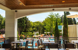 The interior of the restaurant overlooking the pool.   Albena, Bulgaria Stock Images