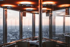 Interior of restraunt located on top of tower Royalty Free Stock Images