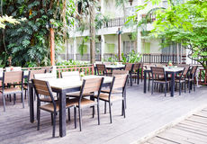 Interior of resturant,Autumn outdoor cafe Royalty Free Stock Image