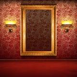 Interior retro com frame vazio do ouro Imagem de Stock