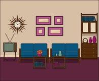 Interior retro de la sala de estar Ejemplo linear del vector Fotografía de archivo libre de regalías