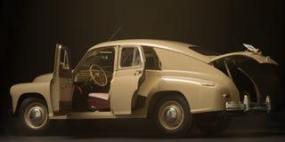 Interior retro del coche en un fondo negro Fotos de archivo libres de regalías