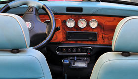 Interior of a retro Mini Cooper car Stock Image