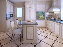 An interior of a rich house kitchen. Using tile in kitchen interior. Aquarium as decor in modern apartments. 3D render royalty free stock photos