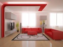 Interior rojo del diseño moderno Imagen de archivo libre de regalías