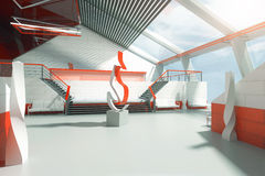 Interior rojo y blanco Imágenes de archivo libres de regalías