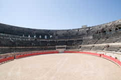 Interior of Roman arena in Nimes Stock Photos