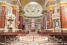 Interior of the roman catholic church St. Stephen's Basilica. Budapest. BUDAPEST, HUNGARY - FEBRUARY 22, 2016: Interior of the roman catholic church St. Stephen' Stock Photography