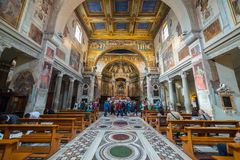 Interior of roman church, Rome, Italy Stock Photos