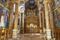 The interior of the Romanian Orthodox Church of the Nativity in Jericho Stock Photo